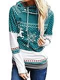 FStory Damen Weihnachtspullover Bunt Weihnachtsmotiv Druck Pulli Sweatshirt mit Kapuzen für Weihnachten Rollkragen Frauen Kapuzenpulli Kontrastfarbe Hoodie Jumper Pullover Oberteil