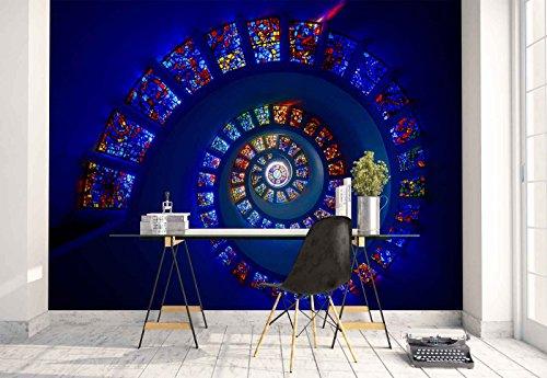 Vlies Fototapete Fotomural - Wandbild - Tapete - Spiral Glasmalerei Mosaik Decke - Thema Architektur - MUSTER - 104cm x 70.5cm (BxH) - 1 Teilig - Gedrückt auf 130gsm Vlies - 1X-1292615VEM -