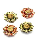 Aapno Rajasthan Floral Shape Wax Filled Diya Candles (Set Of 4) For Diwali
