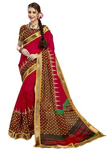 8daeff7312 Miraan Women's Printed Linen Cotton Saree with Attached Zari Border with  Blouse (900, ...