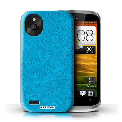 Kobalt® Imprimé Etui / Coque pour HTC Desire X / Turquoise conception / Série Motif Feuille Remous Turquoise