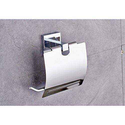 Auralum® Verchromt Wandhalter Toilettenpapierhalt Papierhalter  Küchenrollenhalter Toilettenpapierhalter Mit Deckel Abdeckung