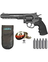 Outletdelocio. Revolver Perdigón Gamo PR-776. Calibre 4,5mm. + Funda portabombonas + balines + bombonas co2