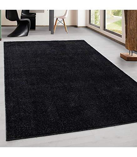 Teppich Kurzflor Modern Wohnzimmer Einfarbig Meliert Uni günstig Versch. Farben - Anthrazit, 120x170 cm - Schwarzer Flokati-teppich