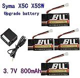 Fytoo 4PCS 3.7V 800mAh Batterie Akku+Ladegerät für Syma X5C X5SC X5SW X5C-1 V931 H5C CX-30 CX-30W Quadcopter Ersatzteil