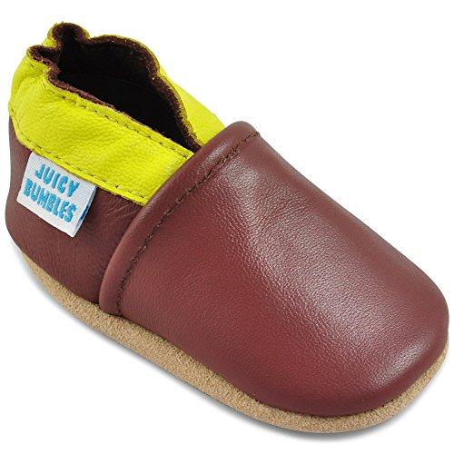 Juicy Bumbles - Weicher Leder Lauflernschuhe Krabbelschuhe Babyhausschuhe mit Wildledersohlen. Junge Mädchen Kleinkind- Gr. 12-18 Monate (Größe 22/23)- Braun und Gelb