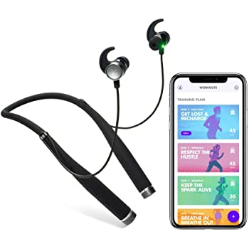 Vi Wireless Headphones with on-demand personal trainer. Vi's human-sounding voice coaches you in realtime using a built-in Fitness Tracker and Heart Rate Monitor