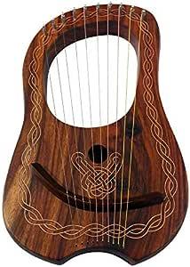 Lyre Harp 10 cordes en bois de rose avec étui de transport et clé de réglage