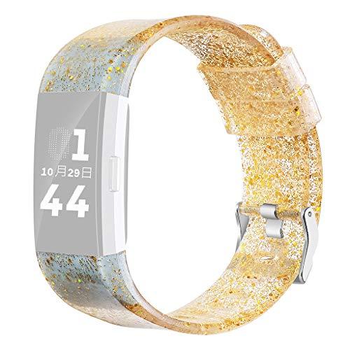 WAOTIER für Fitbit Charge2 Armband Silikon Armband mit Glizer Deko Armband Wasserdicher Ersatzband für Fitbit Charge 2 Armband mit Edelstahl Verschluss (Gold) (Perlen-halskette Fügen Eine Gold Sie)