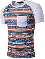 H&E Mens Ethnic Short Sleeve Crewneck Splice Pocket Slim Top Tee White Medium