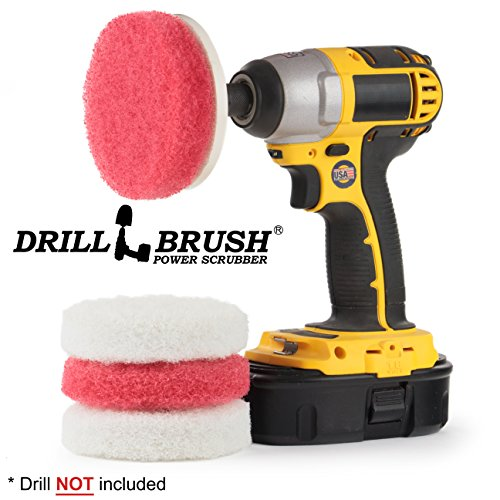 Drillbrush Power Scrubber Scumbusting Scrub Pad Badezimmer Cleaning Kit 4 zoll durchmesser pads rot-weiss