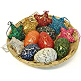 Maya Organic Handcrafted Wooden Easter Eggs - Collection 2 : Easter Eggs & Sequinned Stars with Bamboo Basket