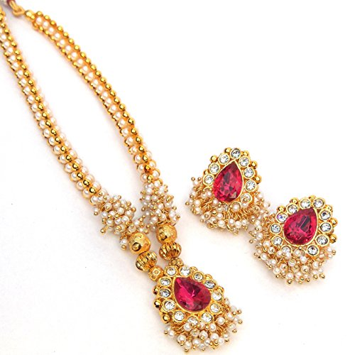 Kreations traditional 1 Gram Micro Gold Plated Pink pendant and Pearl Polki Style Thushi Necklace Jewellery Set With Earrings for Girls And Women  available at amazon for Rs.999