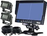 7'quad/Split inversa de visión trasera marcha atrás 2Cámaras CCTV sistema para AG Tractor carretilla elevadora RV