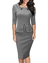 Miusol® Damen Cocktailkleid 3/4 Arm Schößchen Hahnentrittmuster 1950er Jahre Business Stretch Kleid Grau EU 36-46