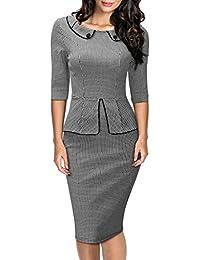 Miusol® Damen Cocktailkleid 1950er Jahre 3/4 Arm Schößchen Hahnentrittmuster Business Stretch Abend Kleid Grau EU 36-46