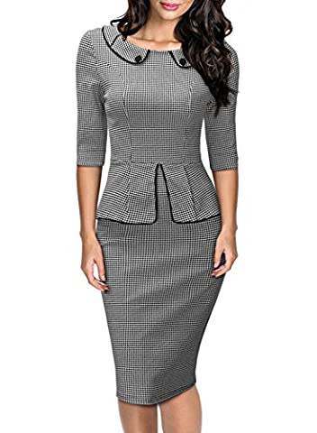MIUSOL Robe Vintage Manches 3/4 Robe Crayon Peplum Houndstooth Business Femme (Small,Gris)