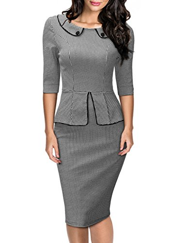 Miusol Damen 3/4 Arm Schoesschen?Cocktailkleid Hahnentrittmuster 1950er Jahre Business Stretch Kleid Grau Gr.L