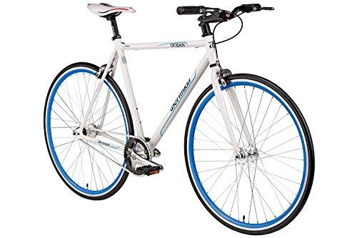 "Fixie 28 Zoll Singlespeed Retro Fahrrad in weiß / blau 28"" Fitnessbike Fixed Gear Rennrad Bike Flip Flop Nabe 56 cm Rahmenhöhe Damen Herren (weiß / blau, 56)"