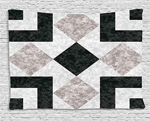 ABAKUHAUS Marmor Wandteppich, Authentischer Marmoreffekt, Wohnzimmer Schlafzimmer Heim Seidiges Satin Wandteppich, 200 x 150 cm, Beige Schwarz