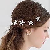 NiceButy - 10 broches para el pelo de estrella de mar, de cristal, color plateado, para boda, horquillas de pelo de novia, accesorios para el pelo de novia, boda temática de playa, fiesta, uso diario