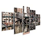 islandburner Quadro su Tela Amsterdam con Il Canale Principale della Città e Le Biciclette, Olanda Stampa Foto Quadri Moderni