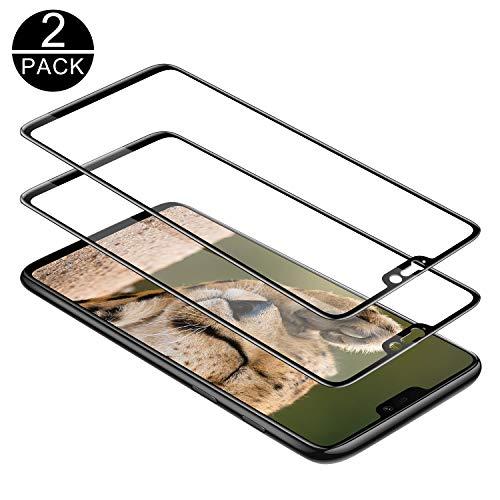 TECHKUN Panzerglas Schutzfolie für OnePlus 6 [2 Stück], 9H Härte Panzerglasfolie Ultra Dünn HD Bildschirmschutzfolie Vollständige Abdeckung Glas Folie für OnePlus 6 (Schwarz)