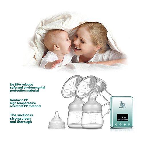 Elektrische Milchpumpe - SUMGOTT Wiederaufladbar Digitale LCD-Anzeige Dual Brustpumpe Stillen Automatische Massage - 6