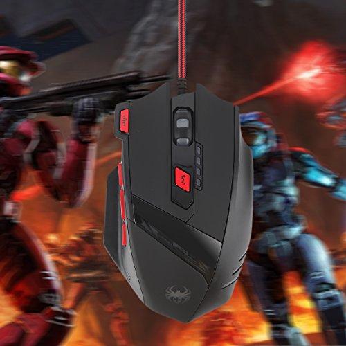 Gaming Maus, ECHTPower Computer Laser Optische Gaming Mouse, 9200DPI PC Gamer Maus mit einstellbarer DPI, 8 Stk. Gewichten, LED Beleuchtung, 8 Tasten, USB kabelgebundene, Groß, Rechtshänder - 8