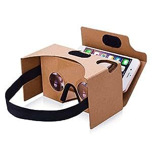【Version Améliorée】TopElek Dernière Google Cardboard Kit V2 Grande Lentille 3D Virtuelle Réalité Cardboard VR Lunettes en Carton avec T Casque, Compatible avec 3.5-5.5 pouces Ecran Android et Apple Smartphone 【Cadeau Idéal】