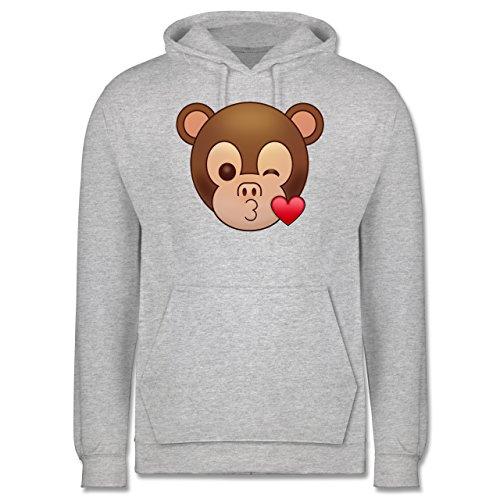 Comic Shirts - Küsschen Äffchen Emoji - Männer Premium Kapuzenpullover / Hoodie Grau Meliert