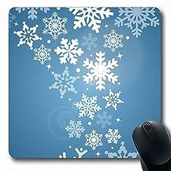 Luancrop Mousepad für Computer Notebook Bilder Blauer Schnee Schneeflocke Abstrakte Weihnachtsbilder Sternchen Winterweiß Design Flocken rutschfeste Gaming-Mausunterlage