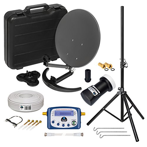 HD Camping Sat Anlage im Koffer ➕ Stativ von HB-DIGITAL: 📡 Mini Sat Schüssel 40cm Anthrazit ➕ Stativ ➕ UHD Single LNB 0,1 dB ➕ Digital SATFINDER ➕ 10m SAT-Kabel inkl. F-Stecker 💢 4K UHD Full HD 1080p fähig 💢