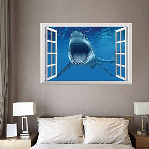 Rftvgb 3D Wall Sticker window Removable window PVC 50X70Cm Sea Shark Fake Windows Stickers Finding Nemo Home Decoration Diy Cartoon Living Room Animals Print Decals Mural Art Poster