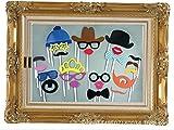 CHSYOO 25 Photobooth mit Einem großen Rahmen, Foto Booth Requisiten Schnurrbart Bowknot Lippen Hut Gastgeschenke für Hochzeit Geburtstag Babyshower Weihnachten Taufe Halloween Kinder Party