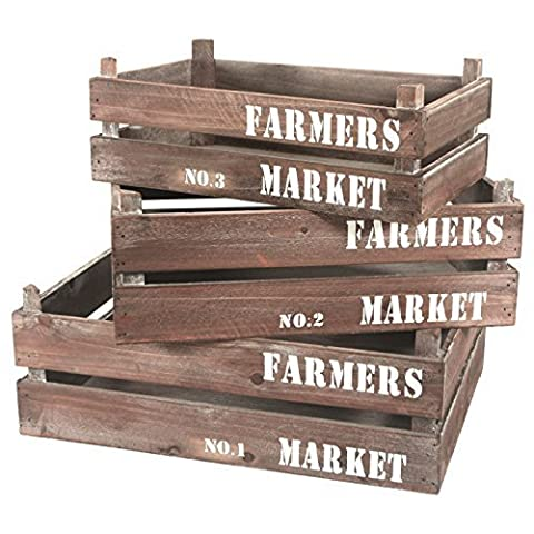 Cheungs Home Decorative Set of 3 Wood Crate Farmers Market by Cheung's