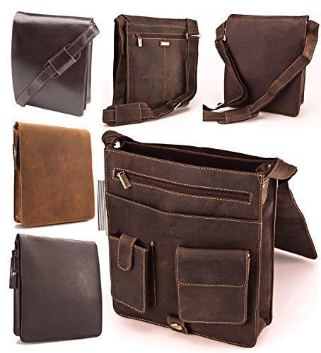 Visconti Hunter - Sac à bandoulière en cuir vieilli finition huilée marron - pour iPad tablette - JASPER # 18410