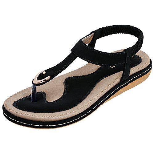 n Sommer Bohemia Beach Sandal Flach Sommerschuhe Metal Hardware Sandals PU Leder Zehentrenner Flip-Sandalen Toe Separator Black 38 ()