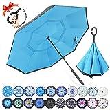ZOMAKE Paraguas de Doble Capa Invertido, Paraguas Plegable Reversible con Protección contra Rayos UV, Resistencia con Viento, Mango en Forma de C para Mujer Hombre Coche(Azul Claro)