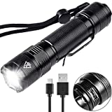 Rechargeable LED Torch, High Power 800 Lumen Mini Flashlight, 5 Modes, Built-in 18650