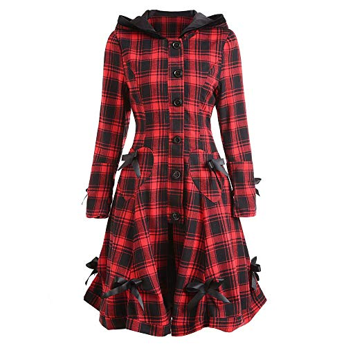 Huihong Damen Trenchcoat Steampunk Lace Up Kapuzenjacke Blazer Tops Plaid Outwear Langarm Kleider Windjacke (Rot, L) -