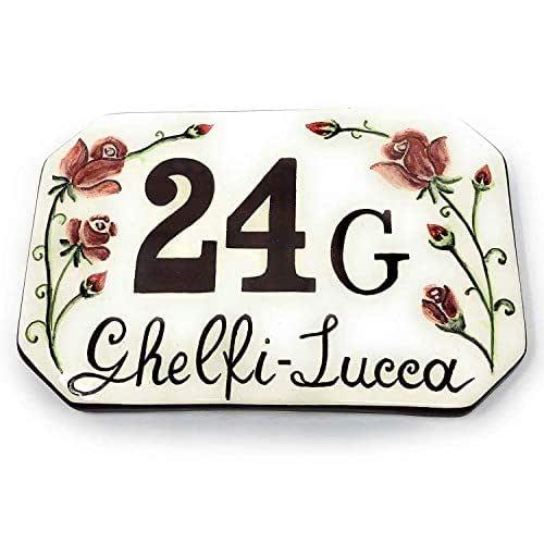 CERAMICHE D'ARTE PARRINI- Ceramica italiana artistica, numero civico in ceramica 20x13 personalizzato, decorazione rose, dipinto a mano, made in ITALY Toscana
