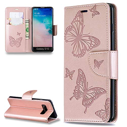 2283b0e396a FNBK Kompatibel mit Hülle Samsung Galaxy S10 Leder Case Schmetterling  Handyhülle Brieftasche Book Type PU Leder