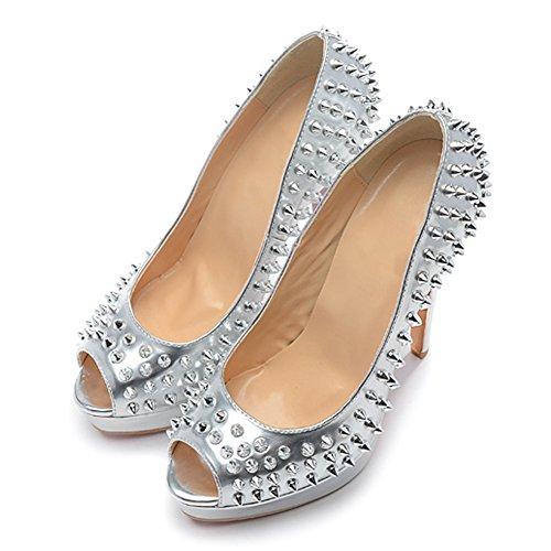 Damen Pumps Peep Toe Lackleder Fellsamt High-Heels Stiletto Plateau mit Nieten Silber