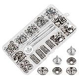 AIEX 150 Stück Druckknöpfe Set, Durable Edelstahl Muttern und Bolzen Set für Möbel Segeltuch Bootsabdeckung Silber Metall Snap Button Kit mit 3 Stck Einstellwerkzeug (50 Sätze)