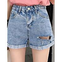 YFLTZ Pantalones Cortos de algodón para Mujeres - Cintura Alta de Color sólido, Azul, S