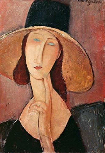 Amedeo Modigliani Kunstdruck (Kunstdruck/Poster: Amedeo Modigliani Portrait of Jeanne Hebuterne in a Large hat c 1918-19
