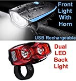 Lista Combo of Rechargeable Bike Front Horn and Light 120 DB with Super
