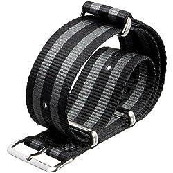Correa del reloj ZULUDIVER® nylon G10 NATO Rayas negro/gris 22mm