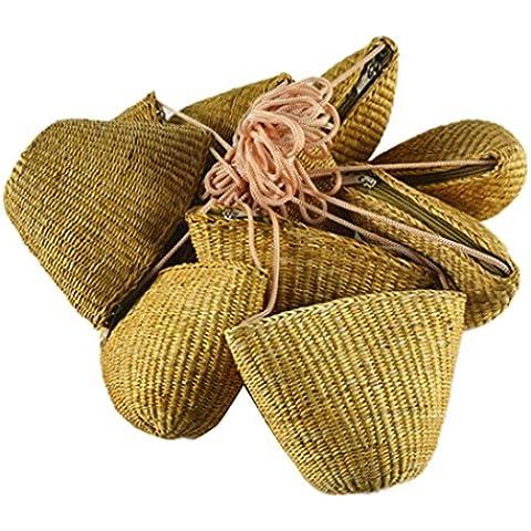 Pequenos Mini Bolsos De Hombro Crossbody Paja Estilo Vintage Cremallera De Tejido En Forma De Concha